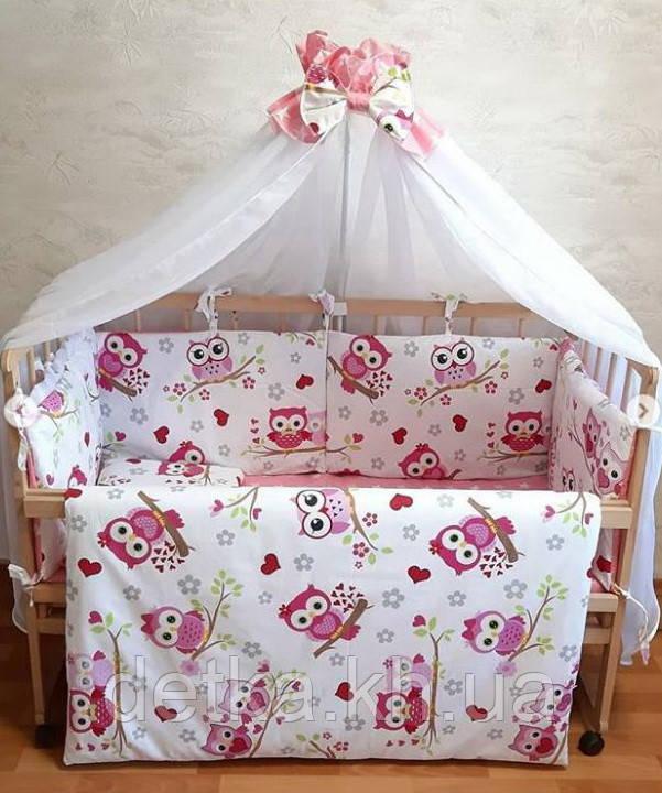 """Комплект постельный """"Совушки"""" в детскую кроватку, с защитой и балдахином, разные расцветки"""