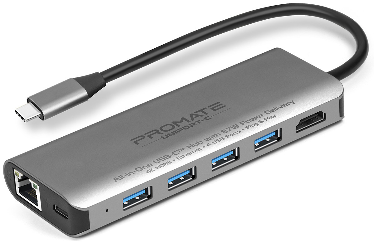 USB-C хаб 7-в-1 Promate UniPort-C USB-C PD/HDMI/4xUSB 3.0/RJ45 Grey