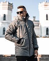Мужская зимняя куртка/парка с капюшоном серого цвета Stark