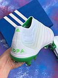 Бутси Adidas Copa 19+FG/AG White/адідас копа/без шнурків(репліка), фото 2