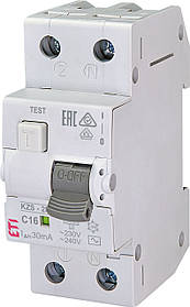 Дифавтомат ETI KZS 2M 1+Np 16A C 30mA 10kA 2173124