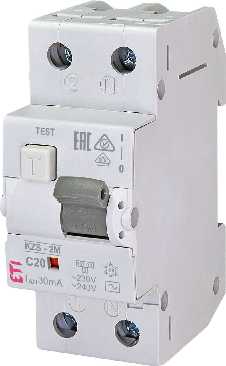 Дифавтомат ETI KZS 2M 1+Np 20A C 30mA 10kA 2173125