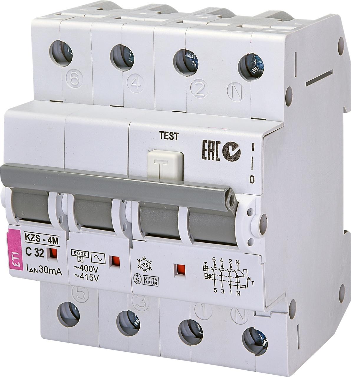 Дифавтомат ETI KZS 4M 3+Np 32A C 30mA 6kA 2174027