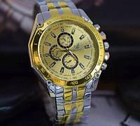 Кварцевые золотые часы с японским механизмом на металлическом ремешке