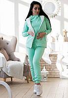 Женский спортивный костюм на флисе с жилеткой(костюм тройка)
