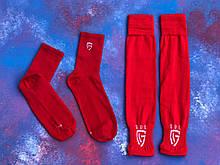 Гетры футбольные без носка + носки GUL(красные)/комплект/обрезки/для футбола