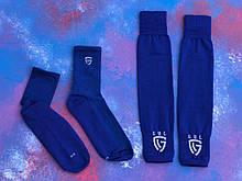 Гетры футбольные без носка + носки GUL(синие)/комплект/обрезки/для футбола