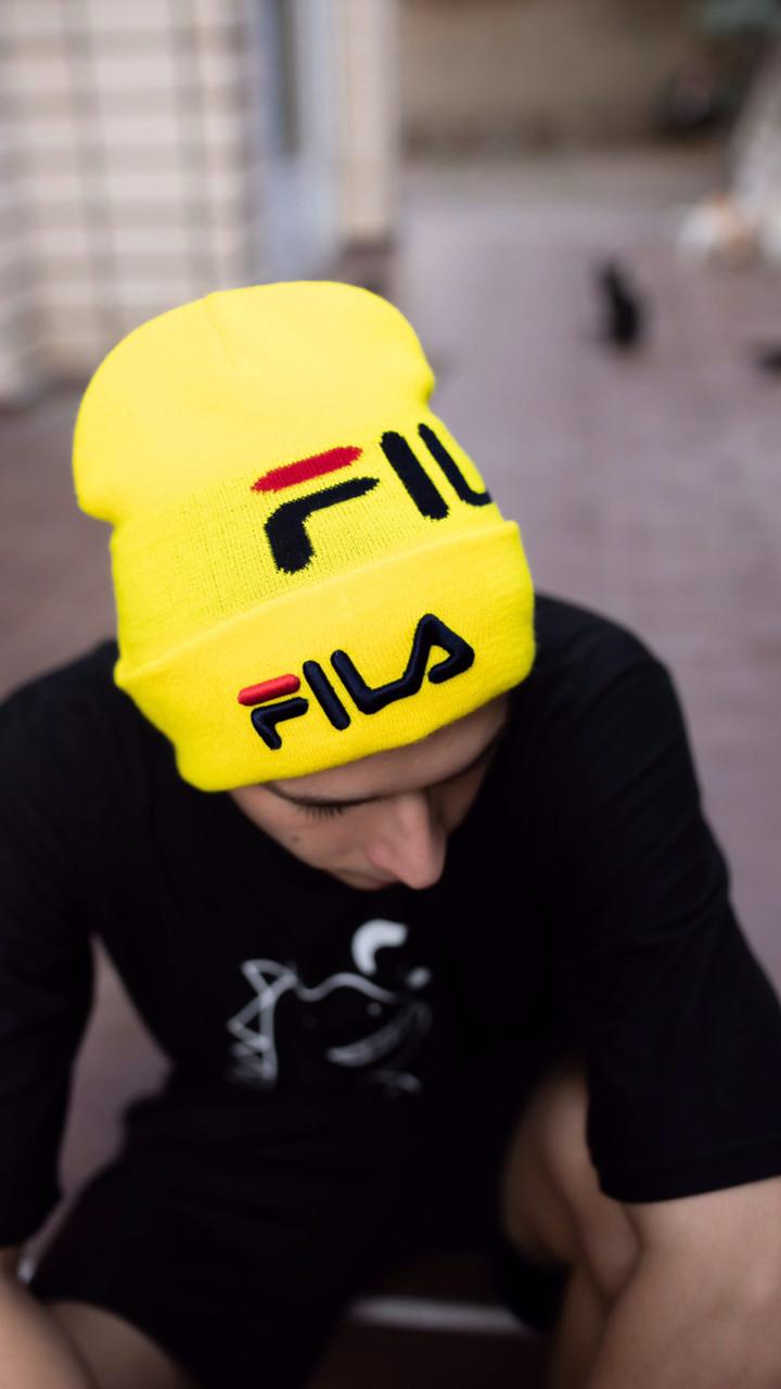 Шапка FILA/Шапка філа/шапка жіноча/шапка чоловіча/шапка жовта