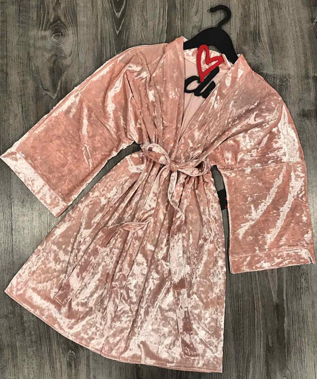 Нежный велюровый халат персикового цвета. Женская домашняя одежда.