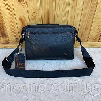 Мужская кожаная стильная сумка на и через плечо на три отделения H.T. Leather