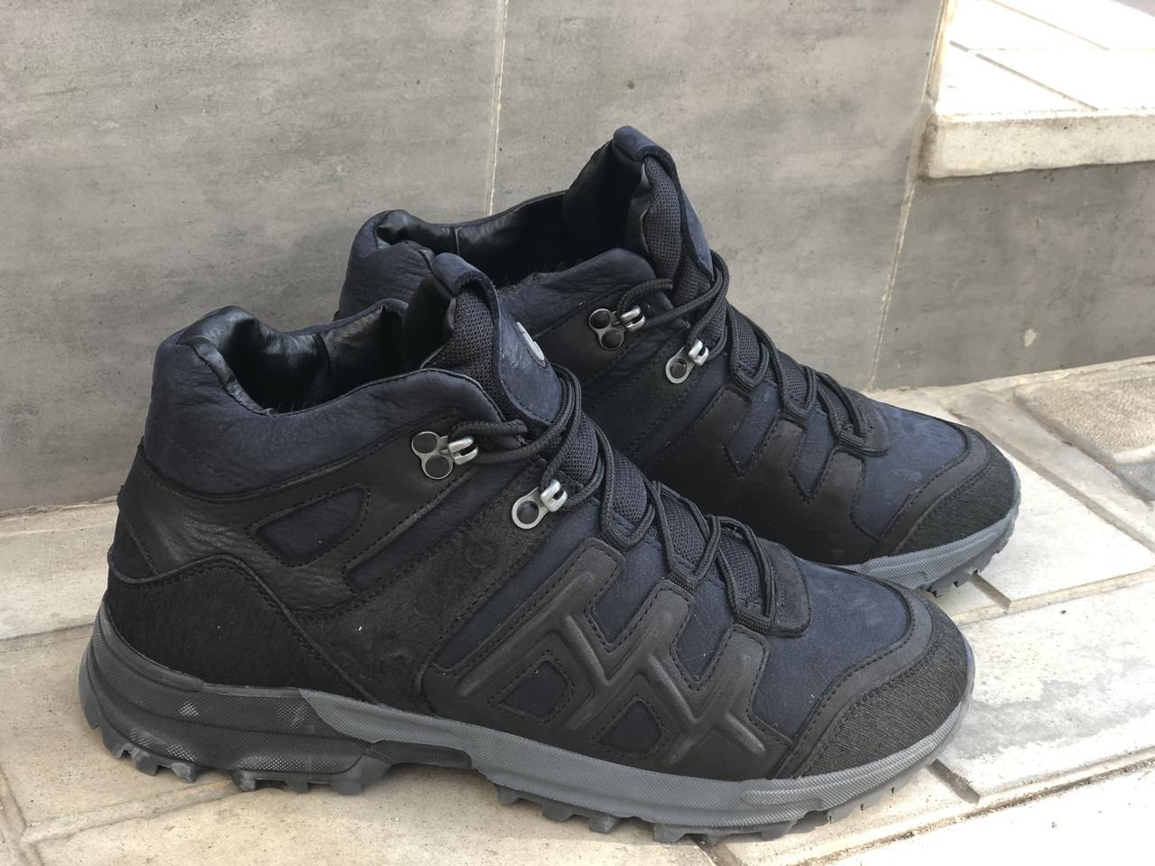 Зимние Кожаные ботинки Mans sport Е 5 син размеры 40,41,42,43,45