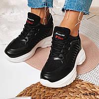 Черные легкие кроссовки из эко-кожи 36 размер, фото 1
