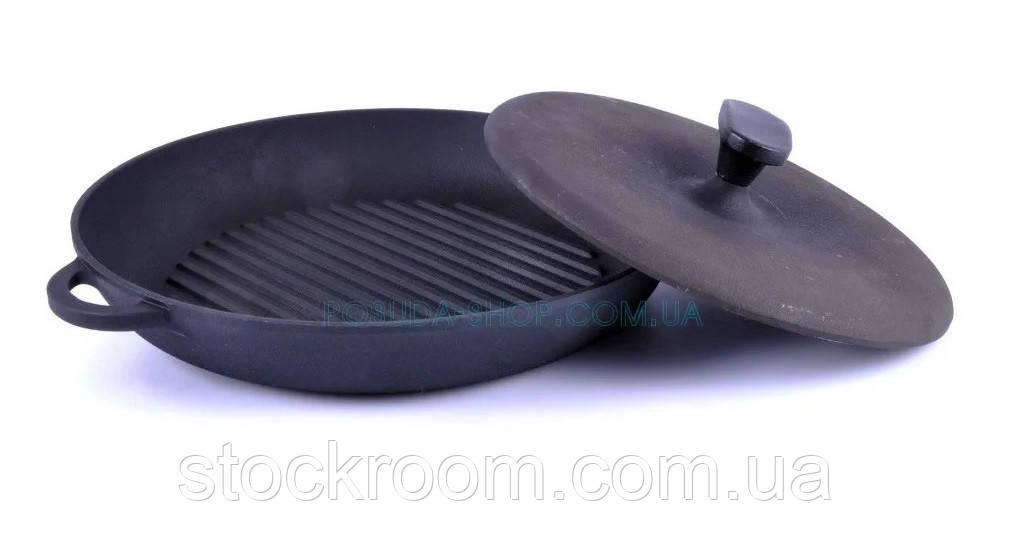 Сковорода гриль чугунная круглая с прессом Ситон 34 см Г340пр