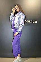 Куртка женская демисезонная  двусторонняя, синяя в цветы