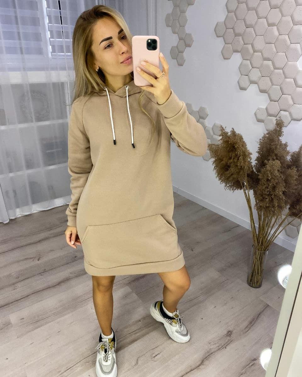 Женское теплое спортивное платье с капюшоном из трехнитки
