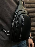 Сумка через плечо Polo мужская слинг кожзам черная, фото 1