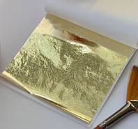 """Поталь листовая, """"светлое золото"""", размер 8,5х8 см, 25 листов, номер 4"""