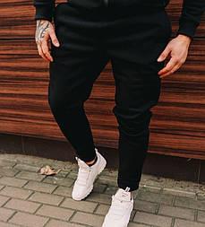 Мужские зимние спортивные брюки флис черные с начесом Турция. Живое фото (спортивный теплые штаны)
