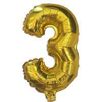 Шар фольгированный цифра 3 золото 70 см