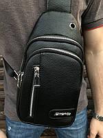 Сумка через плечо Dieke мужская слинг кожзам городская черная, фото 1