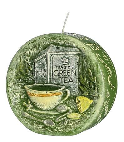 Свеча диск ароматическая зеленый чай 9,5 см