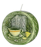 Свеча диск ароматическая зеленый чай 9,5 см, фото 1