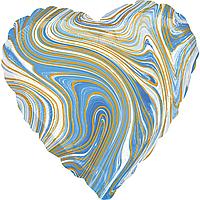 Фольгированный шар 18' Китай Сердце Агат голубой, 44 см