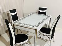 Обеденный стол.Стол раздвижной деревянный с стульями.Стол с стекянным покрытием