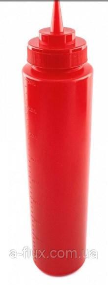 Диспенсер для соусов и сиропов с мерной шкалой красный 960 мл