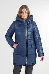 Зимова подовжена куртка Жако колір синій, хакі