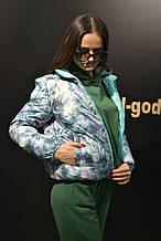Куртка женская демисезонная  двусторонняя, мятная в цветы