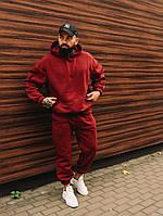 Спортивный костюм мужской бордовый теплый зимний качественный модный Оверсайз, фото 1