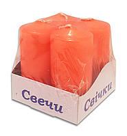 Свечи столбы интерьерные  оранжевые 40 х 80 мм ( 4 шт.)
