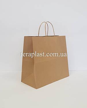 Бумажные крафт-пакеты бурые с ручками 320х150х300, плотность 100 г/м2, фото 2