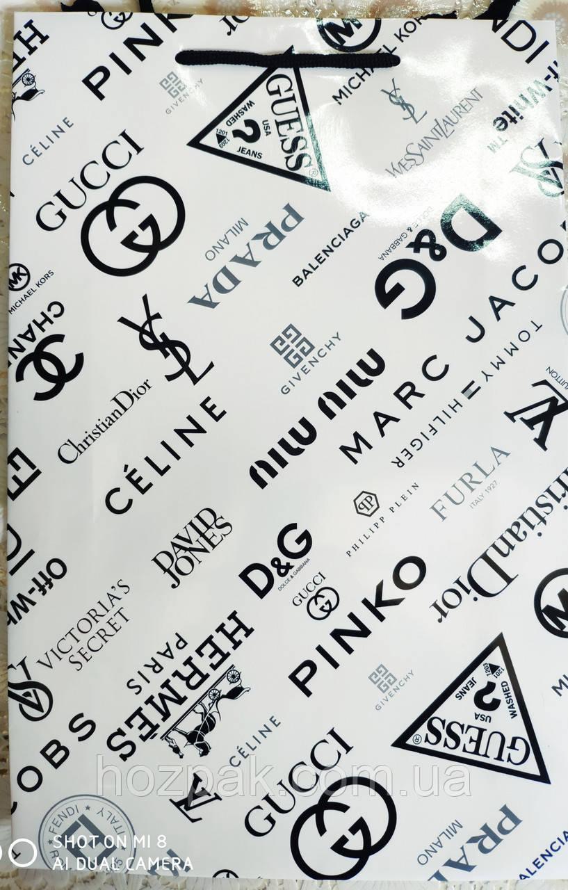 Пакет подарунковий паперовий великий вертикальний 25х39х9