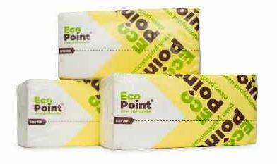 Паперові рушники листові, білі, v-складання, 2 шари, ecopoint