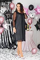 Женское красивое платье батал с 48 по 58 рр люрексовый трикотаж + сетка