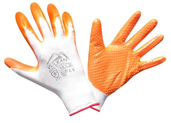 Перчатки защитные Vulkan SFG20028 Вампир, оранжевые, ПВХ точки, фото 2