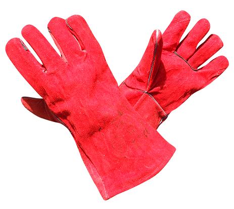 Перчатки краги сварочные Vulkan красные удлиненные, фото 2