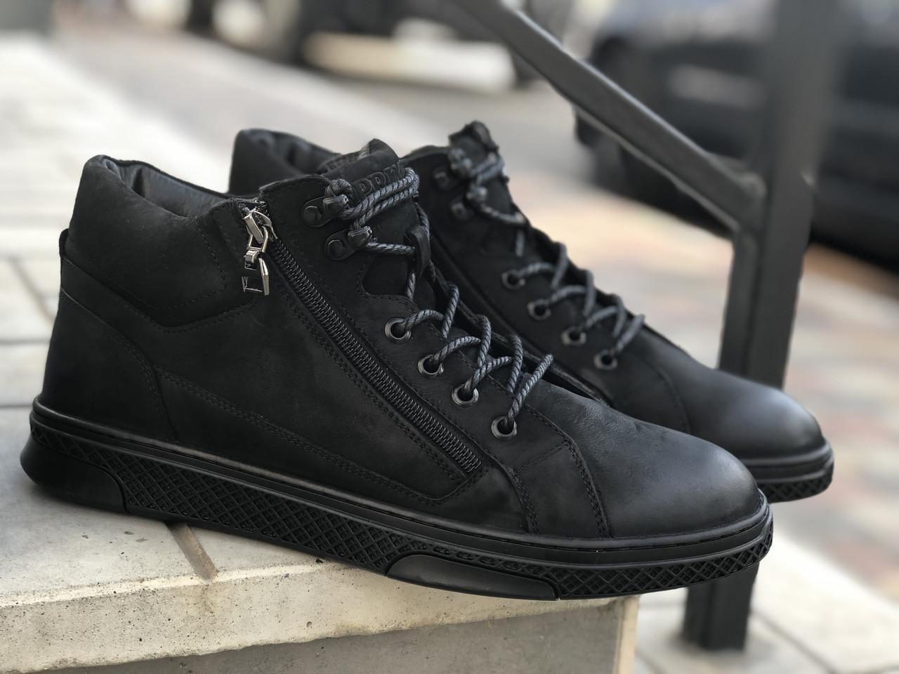 Зимние ботинки мужские Кожаные Prime 70162 ч/н размеры 40,41,42,43,44,45