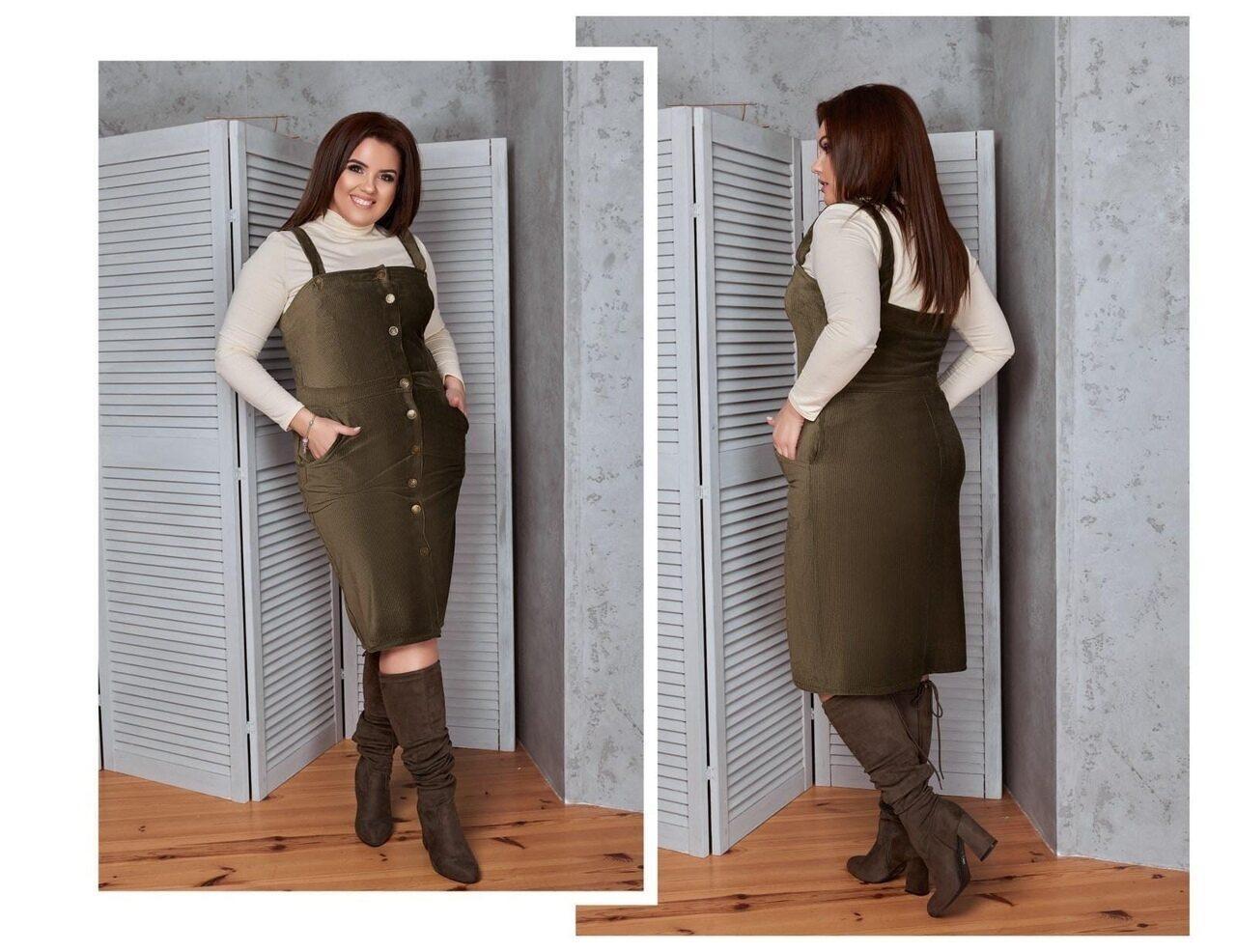 """Модний жіночий сарафан з кишеньками, тканина """"Стрейч-Вельвет"""" 48 розмір"""