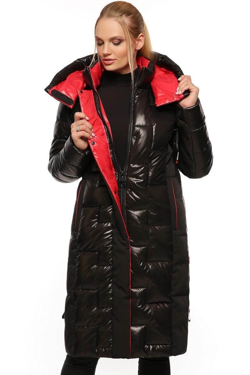 Довгий жіночий пуховик пальто