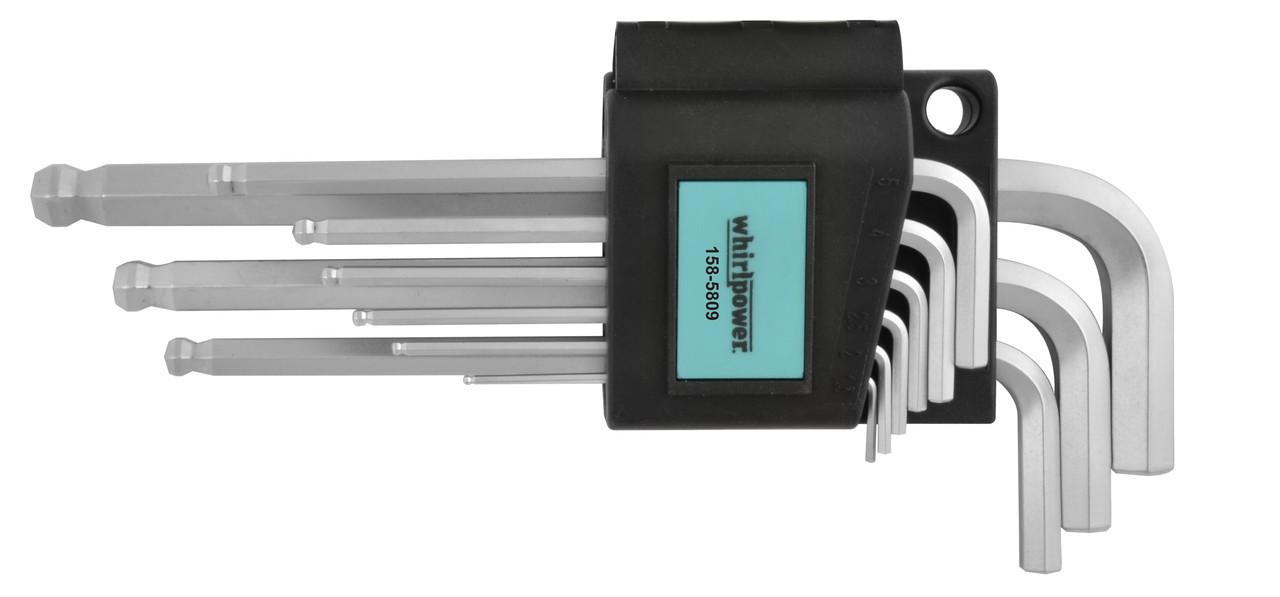Набор ключей-шестигранников HEX Whirlpower 158-5809 с шаром, 9 ед.
