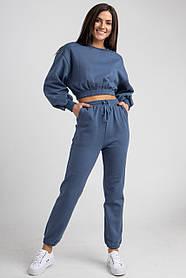 Утепленный модный костюм c укороченной кофтой и брюками на резинке в 3 цветах в универсальном размере S, M, L.
