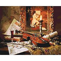 Картина по номерам раскраска по цифрам холст с контуром для взрослых 40х50см волшебная музыка скрипки