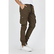 Джоггеры подростковые  хаки хлопковые стильные брюки мужские с карманами на бедре
