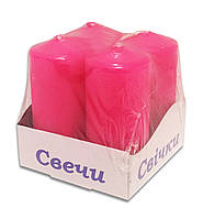 Свечи столбы интерьерные  розовые 40 х 80 мм (4 шт)
