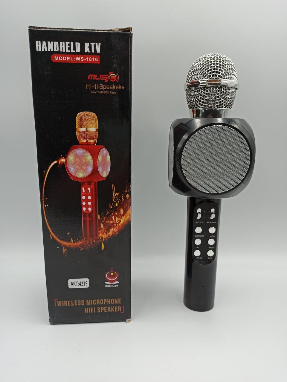 Микрофон с функцией Караоке Wster 1816 Karaoke MP3 Player USB microSD AUX Bluetooth FM