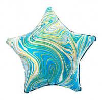 Воздушный шарик фольгированный Звезда агат голубая 42099