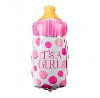 Воздушный шарик фольгированный Бутылочка розовая 901644